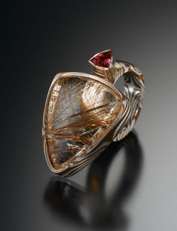 Ring Ag1000 / Kupfer / Rutilquarz / Turmalin - Miriam Hoberg / Foto: Lichtblickdesign Schwollen